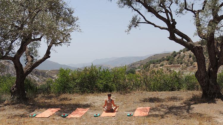 Outdoor yoga space, House of Light, retreat centre, Orgiva, Spain